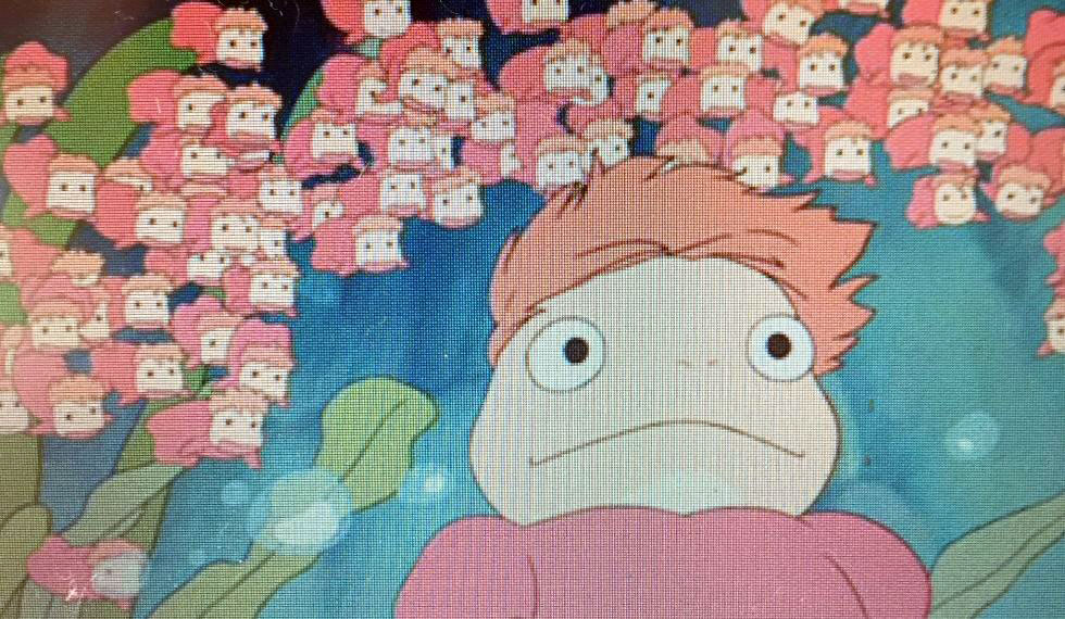 Ponyo surrounded by her many sisters in the film Ponyo, Miyazaki's adaptation of The Little Mermaid