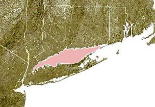 Figure 2.  The Long Island Sound is shown highlighted in pink between Connecticut and Long Island.